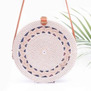 White Round Straw Bag