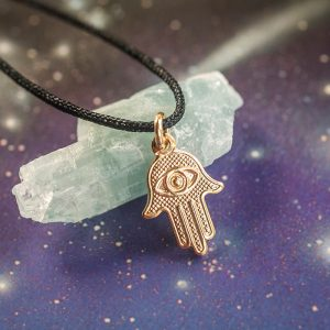 Tiny hamsa gold string